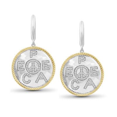 """.33 ct. t.w. Diamond """"Peace"""" Drop Earrings in Two-Tone Sterling Silver, , default"""