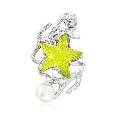 Italian 6.5-7mm Cultured Pearl and Green Venetian Glass Starfish Wrap Ring in Sterling Silver, , default