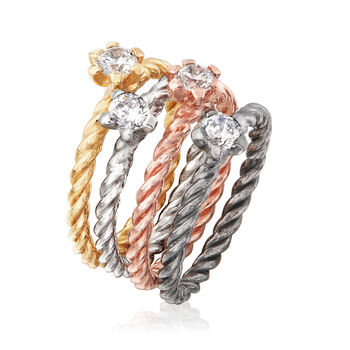 Italian 1.00 ct. t.w. CZ Jewelry Set: Four Rings in Multicolored Sterling Silver, , default