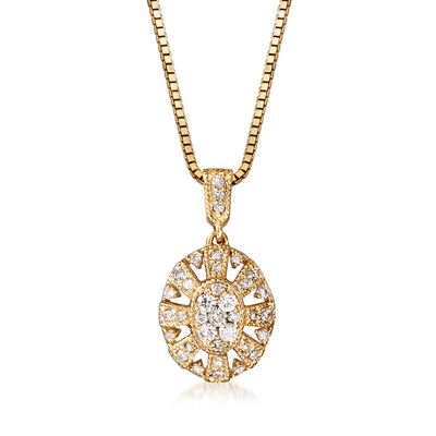 C. 1990 Vintage .50 ct. t.w. Diamond Cluster Pendant Necklace in 14kt Yellow Gold, , default
