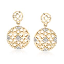 .12 ct. t.w. Diamond Openwork Drop Earrings in 14kt Yellow Gold, , default