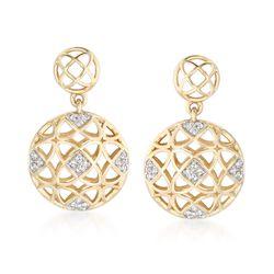 .12 ct. t.w. Diamond Openwork Drop Earrings in 14kt Yellow Gold, , default