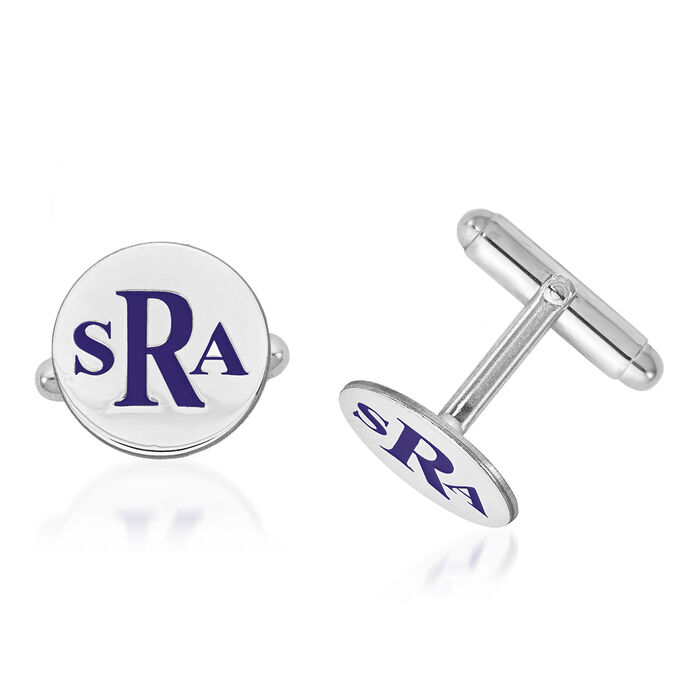 Sterling Silver Circle Monogram Cuff Links with Bright Teal Enamel