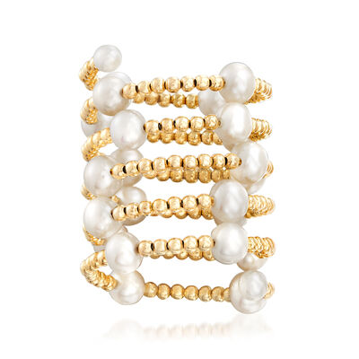 3-5mm Cultured Pearl Adjustable Wrap Ring in 14kt Yellow Gold, , default