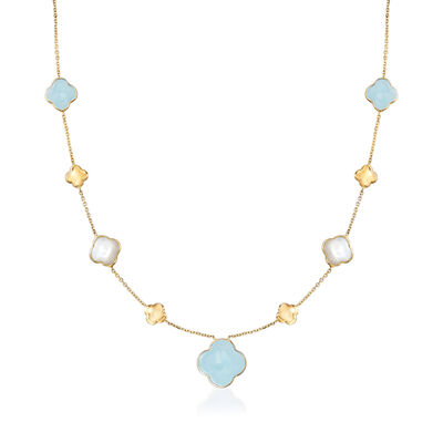 Italian Mother-Of-Pearl and 6.80 ct. t.w. Aquamarine Clover Station Necklace in 14kt Yellow Gold, , default
