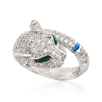 4.00 ct. t.w. CZ and Simulated Multi-Stone Pather Ring in Sterling Silver, , default