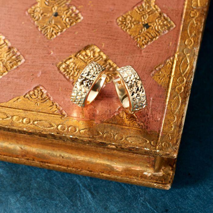 Italian 18kt Yellow Gold Faceted Hoop Earrings