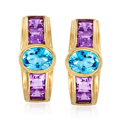 C. 1980 Vintage 2.70 ct. t.w. Swiss Blue Topaz and 2.00 ct. t.w. Amethyst Earrings in 14kt Yellow Gold, , default