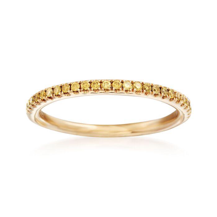 Henri Daussi .15 ct. t.w. Yellow Diamond Wedding Ring in 14kt Yellow Gold