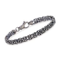 """Italian Sterling Silver Byzantine Bracelet in Black. 7.5"""", , default"""