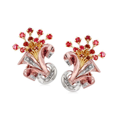 C. 1940 Vintage 1.10 ct. t.w. Ruby and .35 ct. t.w. Diamond Bouquet Clip-On Earrings in 14kt Tri-Colored Gold, , default