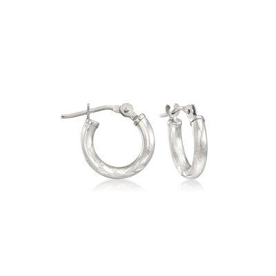 Child's 14kt White Gold Diamond-Cut Huggie Hoop Earrings, , default
