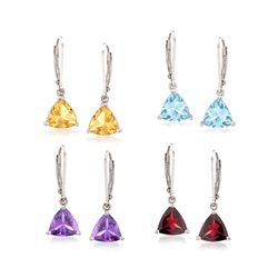 13.10 ct. t.w. Multi-Stone Jewelry Set: Four Pairs of Earrings in Sterling Silver, , default