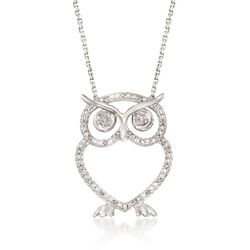 Diamond Accent Open Owl Necklace in Sterling Silver, , default