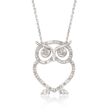 """Diamond Accent Open Owl Necklace in Sterling Silver. 16"""", , default"""