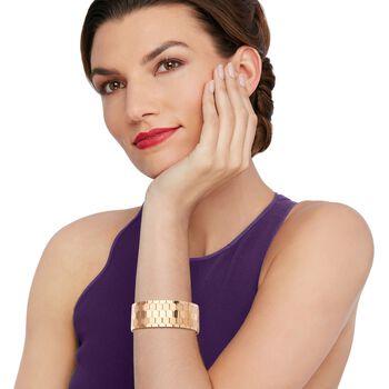 """C. 1950 Vintage 18kt Rose Gold Wide Geometric Bracelet. 7.75"""", , default"""
