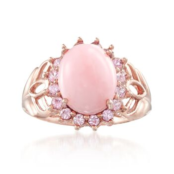 11x9mm Pink Opal and .70 ct. t.w. Pink Sapphire Ring in 14kt Rose Gold, , default