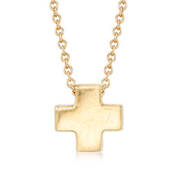 """C. 1990 Vintage Tiffany Jewelry 18kt Yellow Gold Small Cross Necklace. 16"""", , default"""