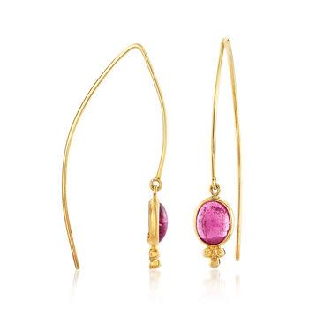 Mazza 4.80 ct. t.w. Pink Tourmaline Drop Earrings in 14kt Yellow Gold