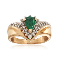 C. 1980 Vintage .55 Carat Emerald and .20 ct. t.w. Diamond Ring in 14kt Yellow Gold. Size 5, , default