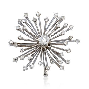 C. 1960 Vintage 1.81 ct. t.w. Diamond Starburst Pin in 14kt White Gold, , default
