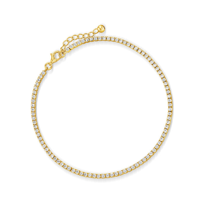 2.70 ct. t.w. CZ Tennis Anklet in 18kt Gold Over Sterling