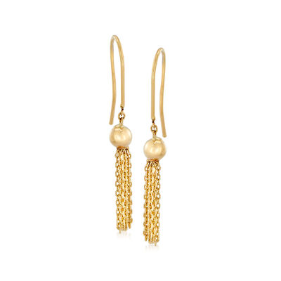 Italian 14kt Yellow Gold Tassel Drop Earrings