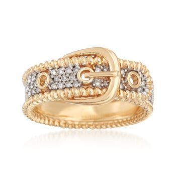 .20 ct. t.w. Diamond Buckle Ring in 14kt Yellow Gold, , default
