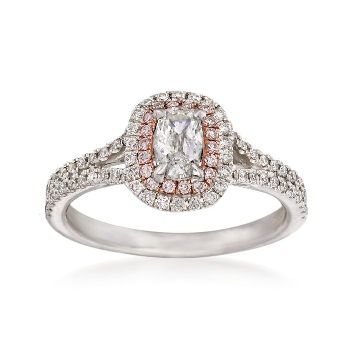 Henri Daussi .86 ct. t.w. White and Pink Diamond Engagement Ring in 14kt White Gold