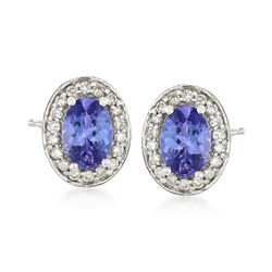 1.50 ct. t.w. Tanzanite and .31 ct. t.w. Diamond Stud Earrings in 14kt White Gold, , default