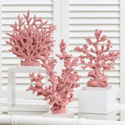 Set of 3 Pink Coral Sculptures on Acrylic Base, , default