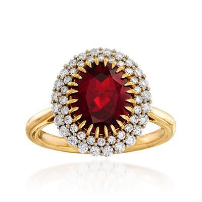 3.00 Carat Garnet and .48 ct. t.w. Diamond Ring in 14kt Yellow Gold, , default