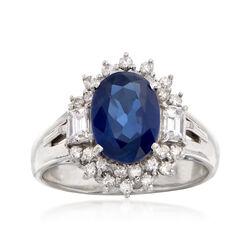 C. 1990 Vintage 2.19 Carat Sapphire and .54 ct. t.w. Diamond Ring in Platinum, , default