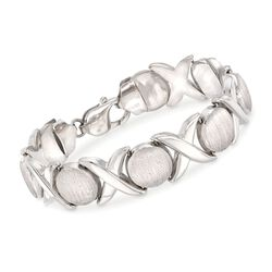 Italian Sterling Silver Brushed and Polished XO Link Bracelet, , default