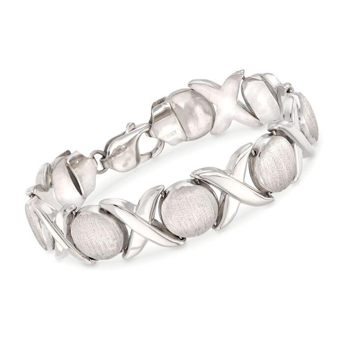 Italian Sterling Silver Brushed and Polished XO Link Bracelet, , default
