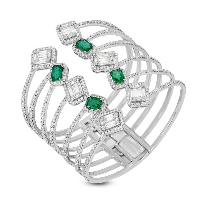 12.11 ct. t.w. Diamond and 4.90 ct. t.w. Emerald Open-Space Bangle Bracelet in 18kt White Gold
