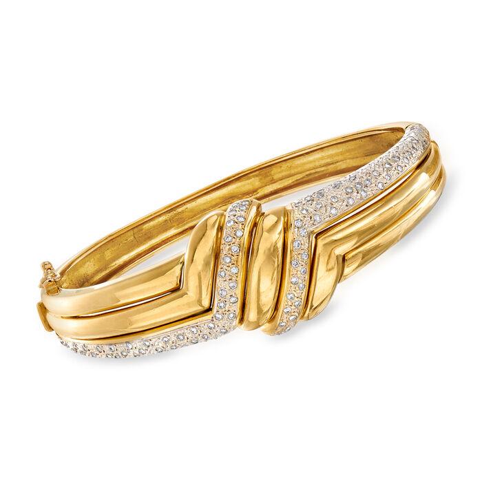 "C. 1980 Vintage 1.26 ct. t.w. Diamond Bangle Bracelet in 18kt Yellow Gold. 7"""