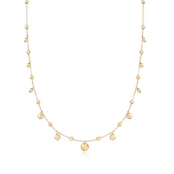 14kt Yellow Gold Bead Drop Station Necklace, , default