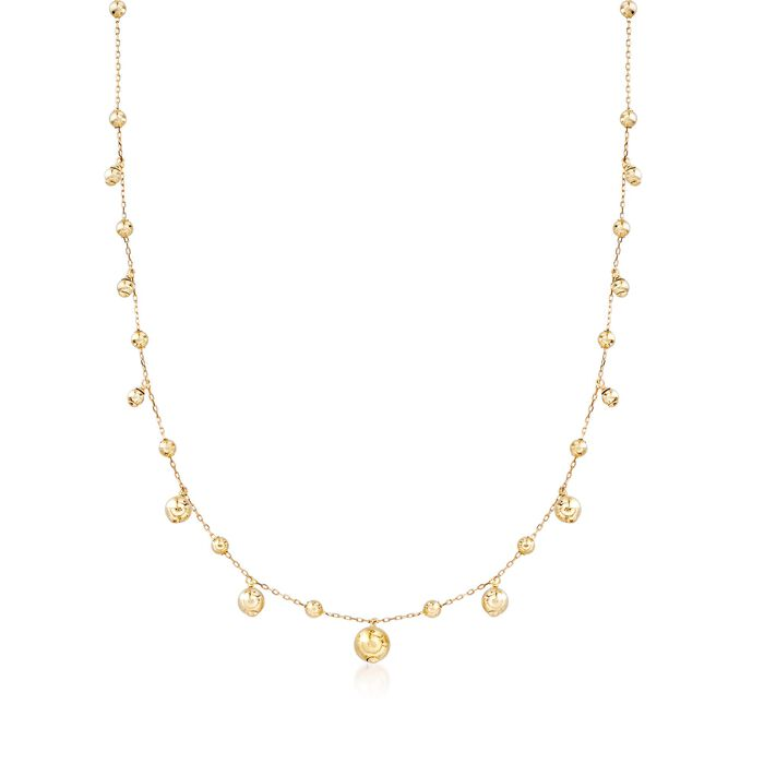 "14kt Yellow Gold Bead Drop Station Necklace. 20"", , default"