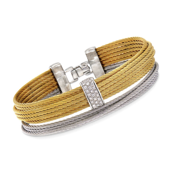 "ALOR ""Classique"" .25 ct. t.w. Diamond Yellow and Gray Stainless Steel Multi-Strand Cable Bracelet. 7"", , default"