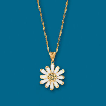 White Enamel Flower Pendant Necklace in 18kt Yellow Gold, , default