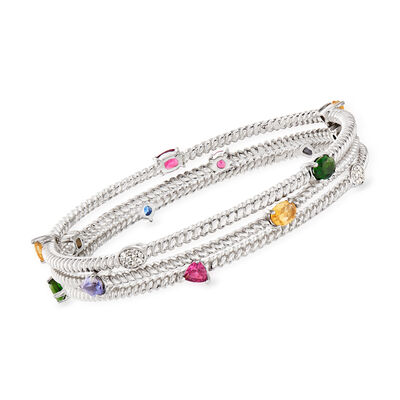 3.50 ct. t.w. Multi-Gemstone Jewelry Set: Three Bangle Bracelets in Sterling Silver