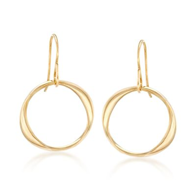 14kt Yellow Gold Twisted Circle Drop Earrings, , default