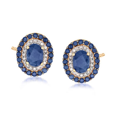 2.90 ct. t.w. Sapphire and .24 ct. t.w. Diamond Earrings in 14kt Yellow Gold