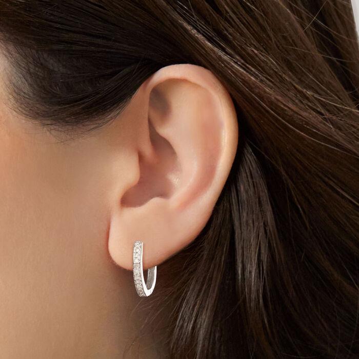 .25 ct. t.w. Diamond Hoop Earrings with Beaded Edge in Sterling Silver