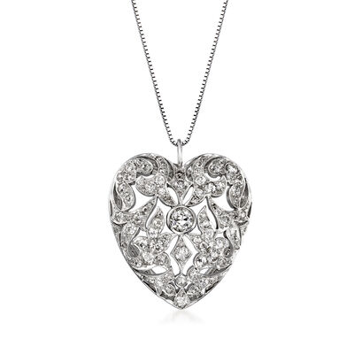 C. 1950 Vintage 2.20 ct. t.w. Diamond Heart Pendant Necklace in 18kt and 14kt White Gold