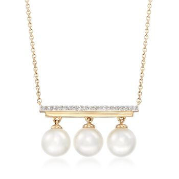 "6.5mm Cultured Pearl Bar Necklace With Diamond Accents in 14kt Yellow Gold. 18"", , default"