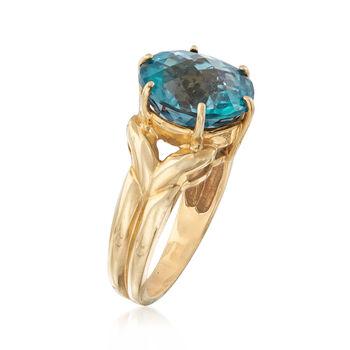 C. 1950 Vintage 2.30 Carat Blue Topaz Ring in 10kt Yellow Gold. Size 7, , default