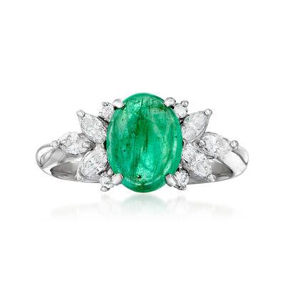 C. 1980 Vintage 1.89 Carat Emerald and .47 ct. t.w. Diamond Ring in Platinum