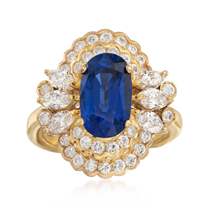 C. 1980 Vintage 3.35 Carat Sapphire and 1.55 ct. t.w. Diamond Ring in 18kt Yellow Gold. Size 6, , default